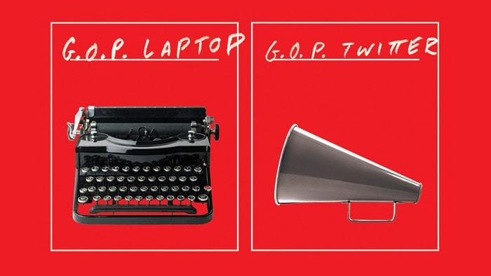 Typewriter and megaphone